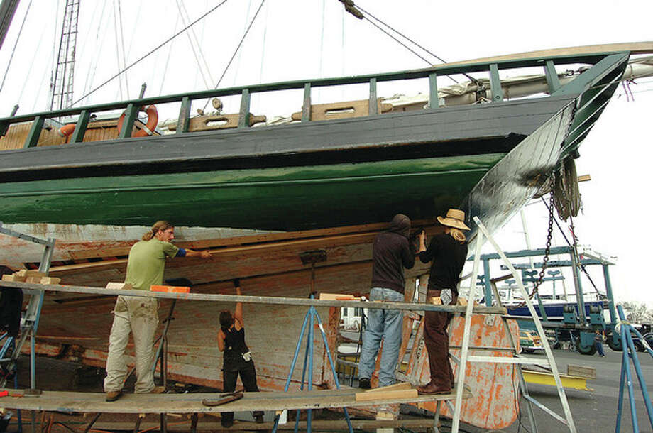Hour Photo/ Alex von Kleydorff. Work continues on the sloop Clearwater while at Cove Marina in Norwalk. / 2011 The Hour Newspapers