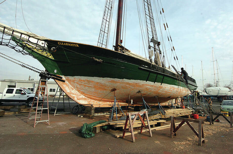 Hour Photo/ Alex von Kleydorff. The 106ft long sloop Clearwater at Cove Marina in Norwalk / 2011 The Hour Newspapers