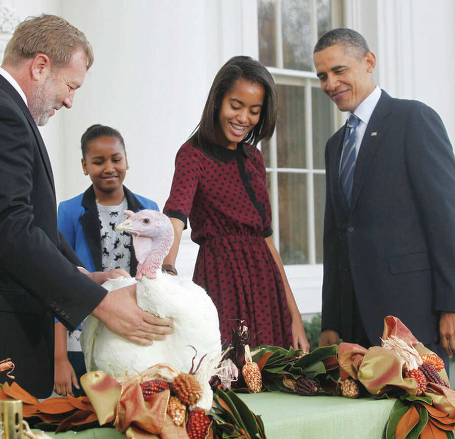 President Barack Obama, with daughters Sasha and Malia, pardons Liberty, a 19-week old, 45-pound turkey, on the occasion of Thanksgiving, Wednesday, Nov. 23, 2011, on the North Portico of the White House in Washington. At left is National Turkey Federation Chairman Richard Huisinga. (AP Photo/Pablo Martinez Monsivais) / AP
