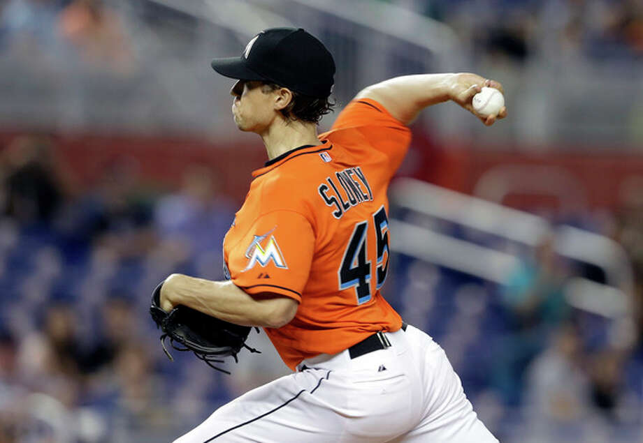 Miami Marlins starting pitcher Kevin Slowey throws in the first inning during a baseball game against the New York Mets, Tuesday, April 30, 2013, in Miami. (AP Photo/Lynne Sladky) / AP