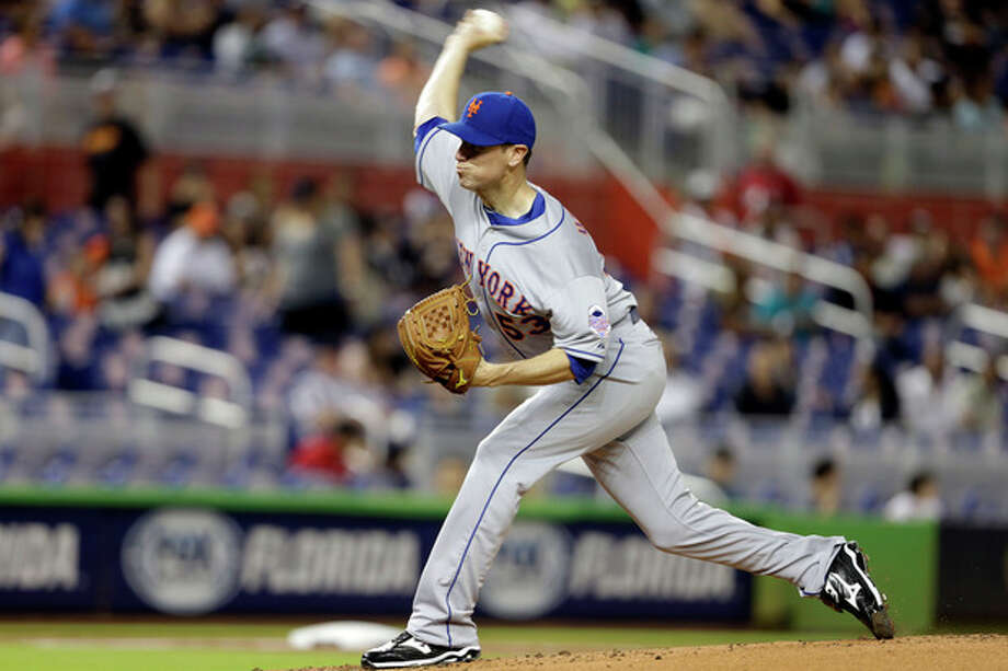 New York Mets starting pitcher Jeremy Hefner throws in the first inning of a baseball game against the Miami Marlins, Tuesday, April 30, 2013, in Miami. (AP Photo/Lynne Sladky) / AP