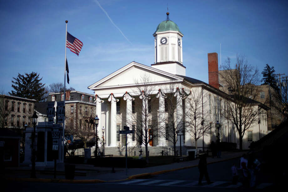 The Centre County Courthouse in Bellefonte, Pa., is shown Monday, Dec. 12, 2011. Former Penn State assistant football coach Jerry Sandusky, charged with sexually abusing boys, is scheduled to have a preliminary hearing at the courthouse Tuesday. (AP Photo/Matt Rourke) / AP
