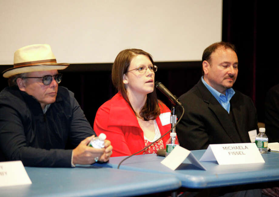 """Michaela Fissel speaks on a panel with Joey Pantoliano after a screening of his documentary """"No Kidding, Me Too!"""" as part of a Mental Health Fair held at Wilton High School Tuesday evening.Hour Photo / Danielle Robinson"""