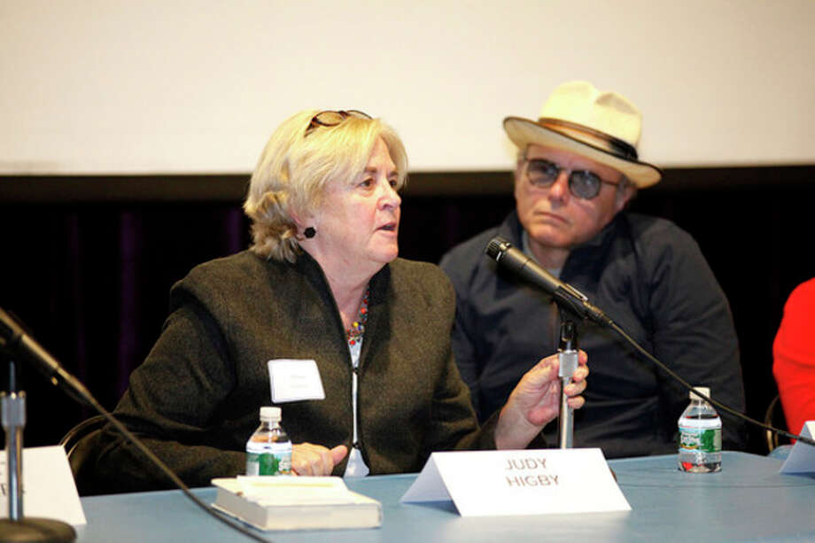 """Hour Photo / Danielle RobinsonJudy Higby speaks on a panel with Joey Pantoliano after a screening of his documentary """"No Kidding, Me Too!"""" as part of a Mental Health Fair held at Wilton High School Tuesday evening."""