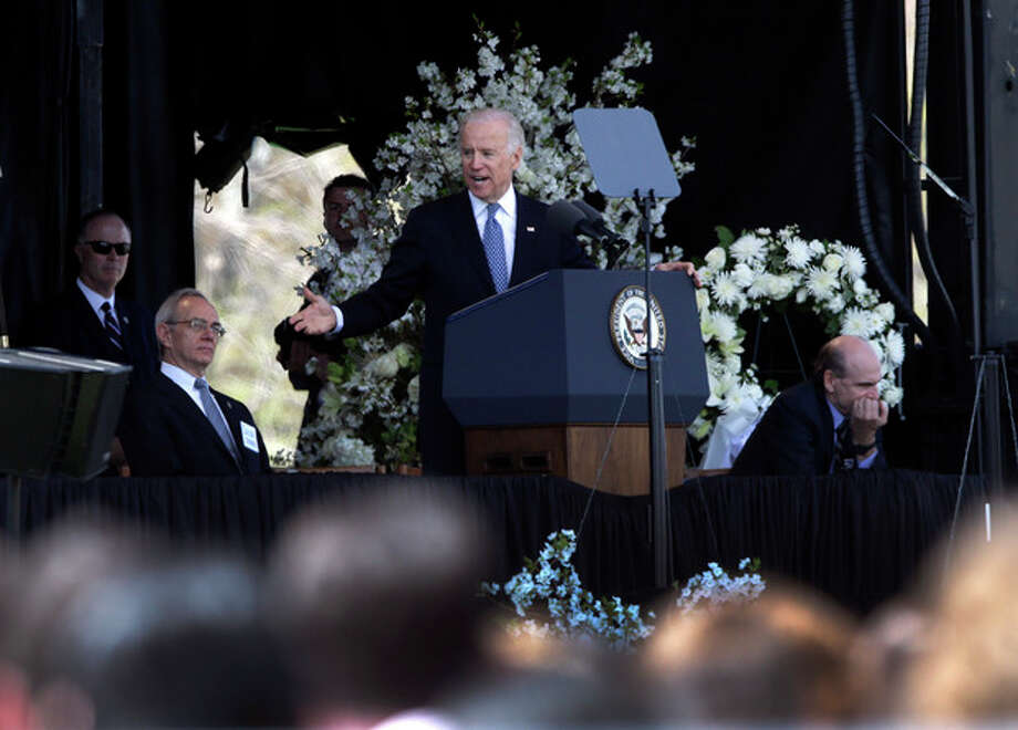 Vice President Joe Biden speaks at a memorial service for slain Massachusetts Institute of Technology campus officer Sean Collier at MIT in Cambridge, Mass. Wednesday, April 24, 2013. (AP Photo/Elise Amendola) / AP