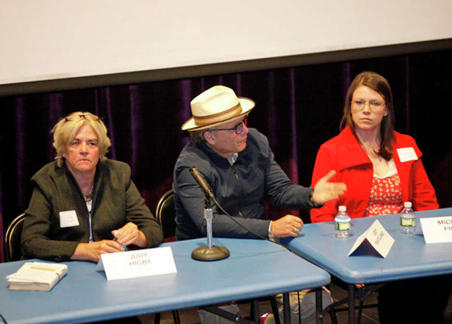 "Joey Pantoliano speaks on a panel after a screening of his documentary ""No Kidding, Me Too!"" as part of a Mental Health Fair held at Wilton High School Tuesday evening.Hour Photo / Danielle Robinson"