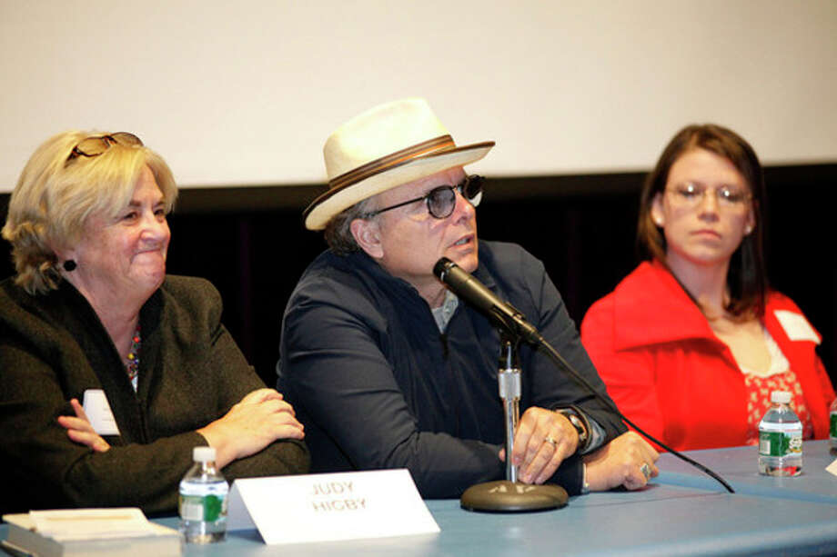 """Joey Pantoliano speaks on a panel after a screening of his documentary """"No Kidding, Me Too!"""" as part of a Mental Health Fair held at Wilton High School Tuesday evening.Hour Photo / Danielle Robinson"""