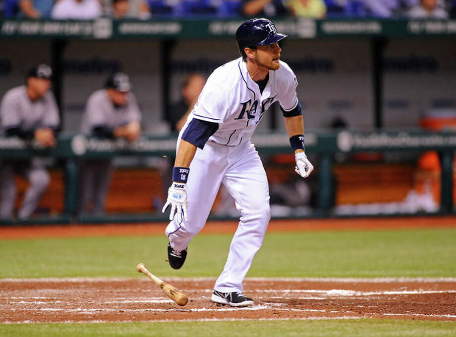 Tampa Bay Rays Ben Zobrist takes off after hitting a two-run double off of New York Yankees starting pitcher Andy Pettitte during the fifth inning of a baseball game Wednesday, April 24, 2013, in St. Petersburg, Fla. (AP Photo/Brian Blanco) / FR170107 AP