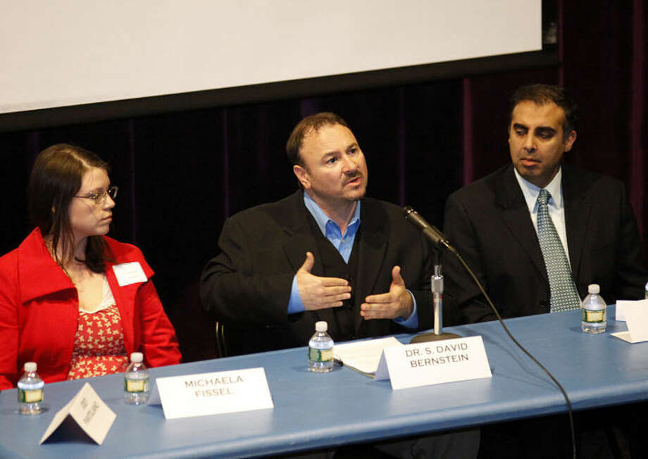 """Dr. S. David Bernsteinl speaks on a panel with Joey Pantoliano after a screening of his documentary """"No Kidding, Me Too!"""" as part of a Mental Health Fair held at Wilton High School Tuesday evening."""
