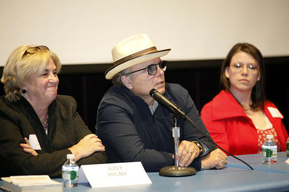 "Joey Pantoliano speaks on a panel after a screening of his documentary ""No Kidding, Me Too!"" as part of a Mental Health Fair held at Wilton High School Tuesday evening."