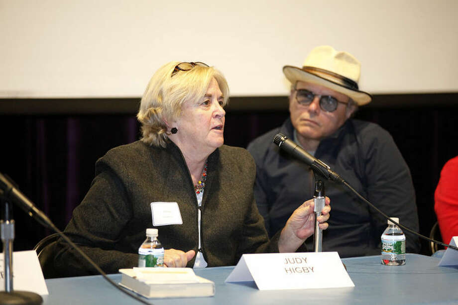 """Judy Higby speaks on a panel with Joey Pantoliano after a screening of his documentary """"No Kidding, Me Too!"""" as part of a Mental Health Fair held at Wilton High School Tuesday evening."""