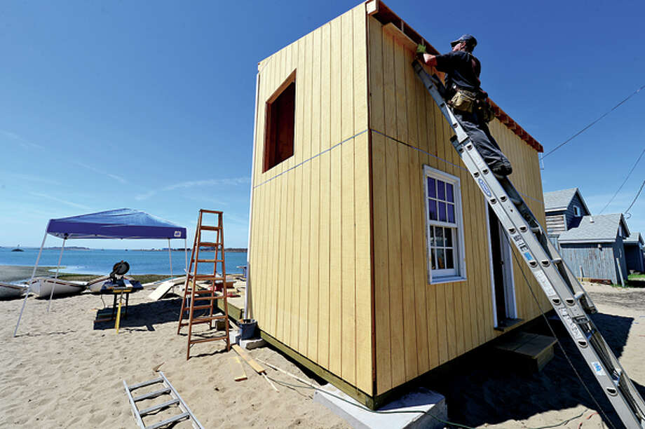 Norwalk sailing school boat house which was washed away during hurricane Sandy is rebuilt for the upcoming season. Hour photo / Erik Trautmann / (C)2013, The Hour Newspapers, all rights reserved