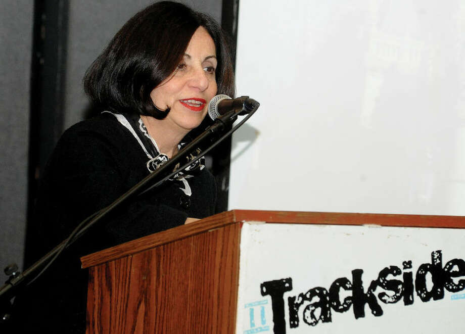 State Sen. Toni Boucher at the Wilton Town Hall meeting at the Trackside Teen Center.