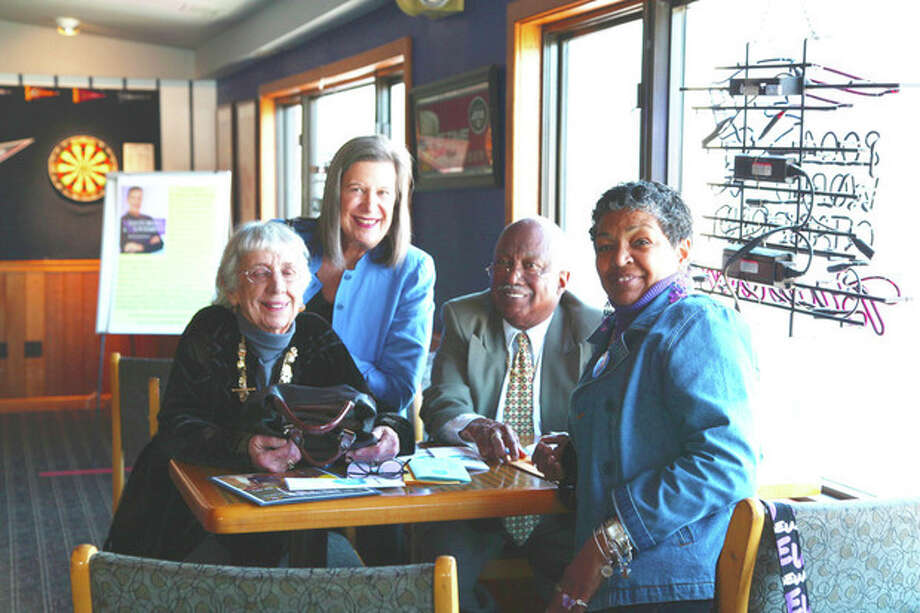 """Robert and Mary Burgess along with Susan Weinberger and friend Mary at the East Side Café Saturday where the eatery hosted a """"Mentors & Mentees"""" fundraiser luncheon for S.A.V.E."""