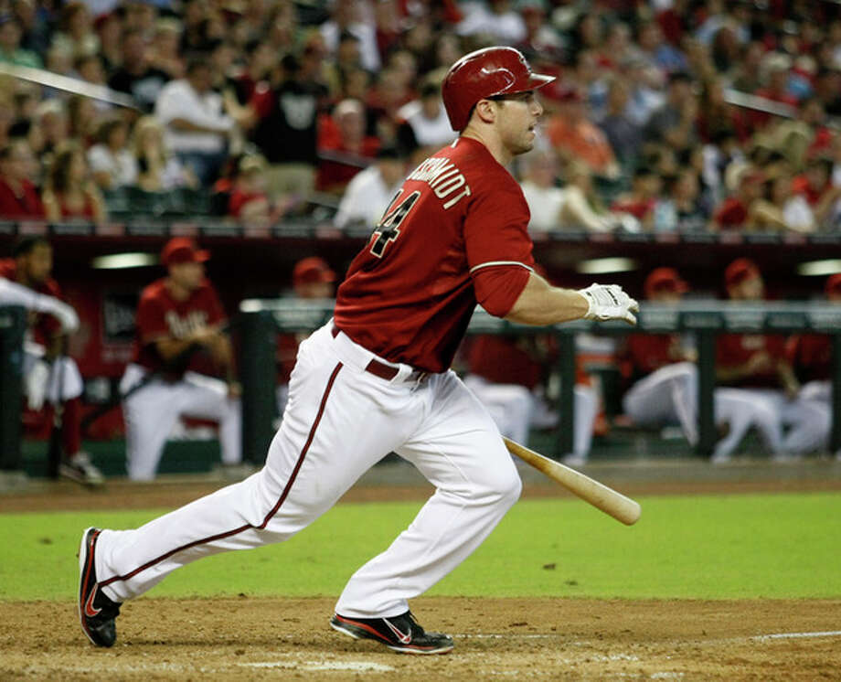 Arizona Diamondbacks Paul Goldschmidt hits an RBI single in the sixth inning against the New York Mets during a baseball game on Sunday, July 29, 2012, in Phoenix. (AP Photo/Rick Scuteri) / FR157181 AP