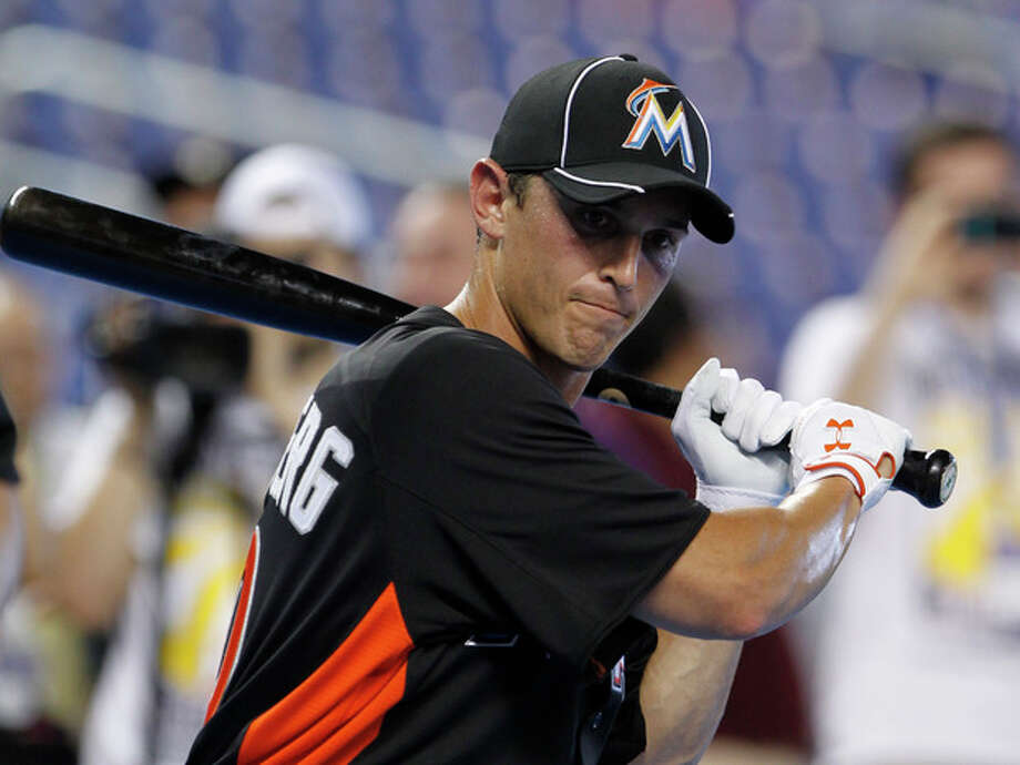 FILE - In this Oct. 2, 2012, file photo, Adam Greenberg prepares for batting practice before a baseball game against the New York Mets in Miami. Greenberg said on Saturday, Dec. 22, 2012, that he has agreed to a minor league contract with the Baltimore Orioles and will have a chance to earn a job at their Triple-A farm team in Norfolk, Va. (AP Photo/Alan Diaz, File) / AP