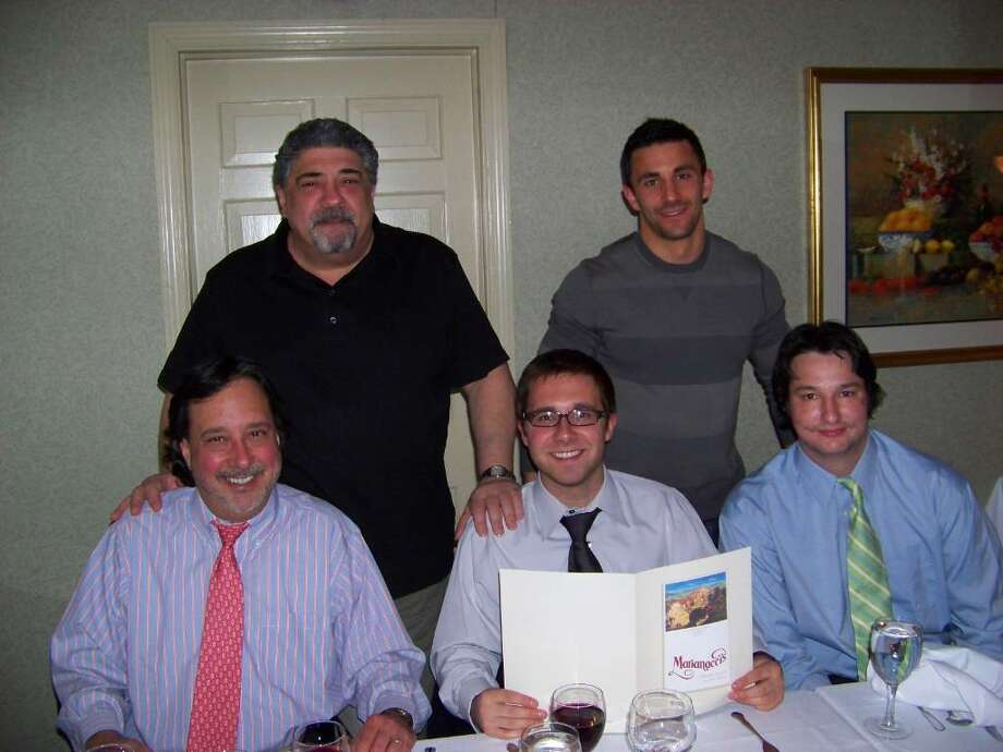 "Standing, from left, ""Sopranos"" cast members Vincent Pastore (Big Pussy) and Jason Cerbone (Jackie Aprile Jr.), with Thomson Reuters executive John Raffaeli his son John Jr. and Denis O'Donoghue. Photo: Contributed Photo / Greenwich Time Contributed"