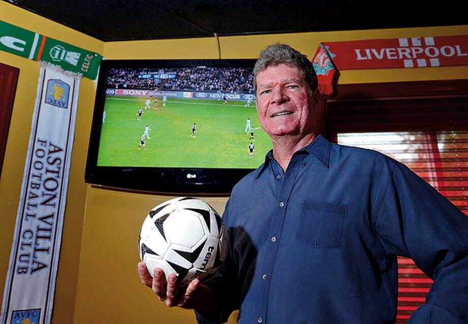 "John Ruane, an Emmy-award winning TV producer who is currently producing his first documentary about Brazillian soccer called ""Beautiful Game,"" at the Tavern on 7 in Norwalk. Hour photo / Erik Trautmann / (C)2012, The Hour Newspapers, all rights reserved"