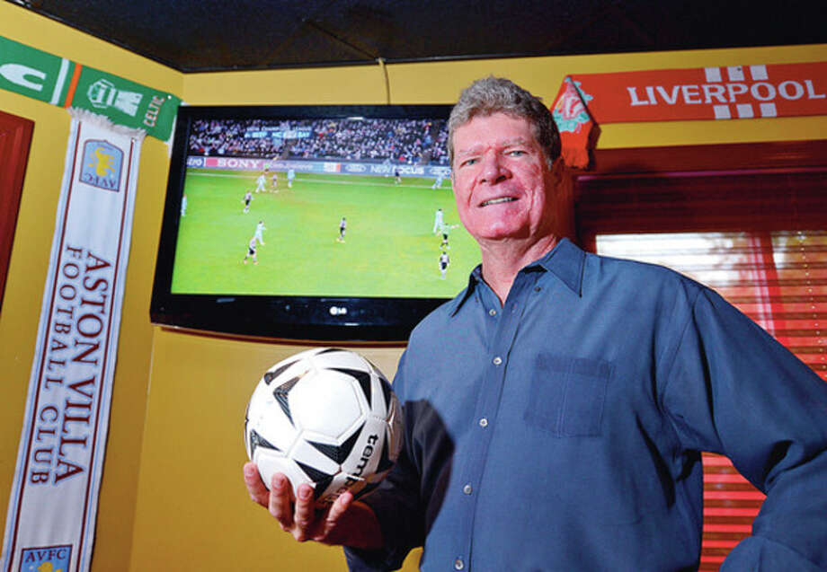 "Hour photo / Erik TrautmannJohn Ruane, an Emmy-award winning TV producer who is currently producing his first documentary about Brazillian soccer called ""Beautiful Game,"" at the Tavern on 7 in Norwalk. / (C)2012, The Hour Newspapers, all rights reserved"