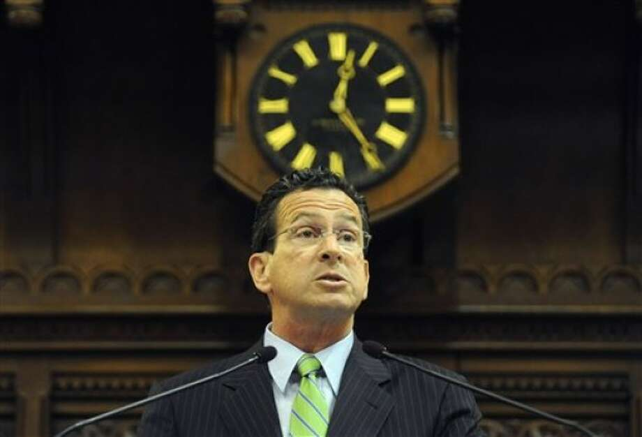 Connecticut Gov. Dannel P. Malloy addresses the House and Senate at the close of session at the Capitol in Hartford, Conn., early Thursday, June 9, 2011. (AP Photo/Jessica Hill)