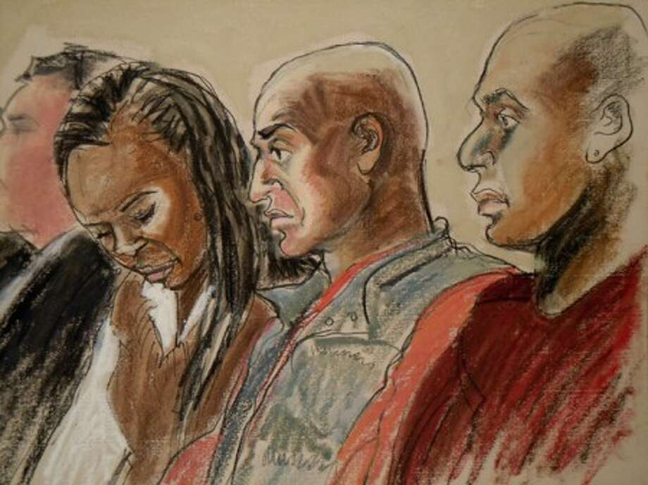 In this courtroom sketch, Carl Tyson, second from right, the father of Carlina White who was kidnapped from a New York hospital more than two decades ago, is shown seated in court during the hearing for the accused kidnapper Ann Pettway on Monday, Jan. 24, 2011 in New York. Pettway surrendered Sunday, days after a widely publicized reunion between the child she raised, now an adult, and the biological mother. (AP Photo/Elizabeth Williams)