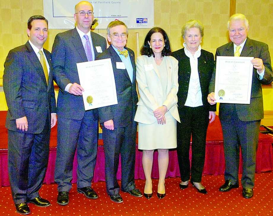State senator Bob Duff, AT&T Director of External Affairs, Harry Carey, State Representative John Hetherington, State Representative Gail Laviele and Carol and George Bauer pose for a photograph following the CT General Assembly Tribute to Carey and the Bauers for the recognition they received at the Voluntary Action Center''''s 2011 Volunteer Leadership Breakfast Tuesday morning at Dolce. Hour photo / Erik Trautmann
