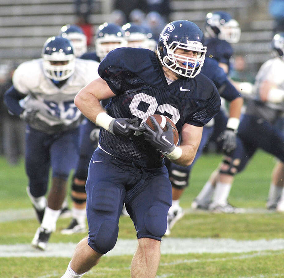 @White=[C] Hour Photo/John Nash UConn tight end Teddy Baker was the hero of last spring's Blue-White game and is in a position that coach Paul Pasqualoni thinks will be vital to the success of his team's offense this season.