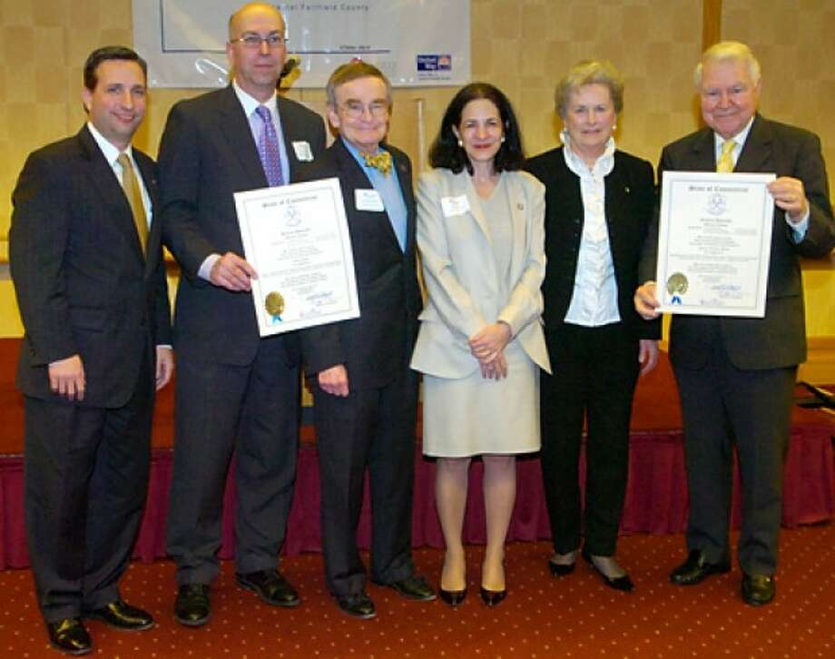 State senator Bob Duff, AT&T Director of External Affairs, Harry Carey, State Representative John Hetherington, State Representative Gail Laviele and Carol and George Bauer pose for a photograph following the CT General Assembly Tribute to Carey and the Bauers for the recognition they recieved at the Voluntary Action Center''s 2011 Volunteer Leadership Breakfast Tuesday morning at Dolce. Hour photo / Erik Trautmann