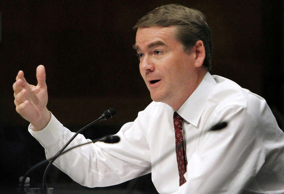 Senate Health, Education, Labor, and Pensions Committee member Sen. Michael Bennet, D-Colo,. speaks on Capitol Hill in Washington, Wednesday, Oct. 19, 2011, during the committee's hearing of legislation for the Elementary and Secondary Education Reauthorization Act. (AP Photo/Jacquelyn Martin) / AP