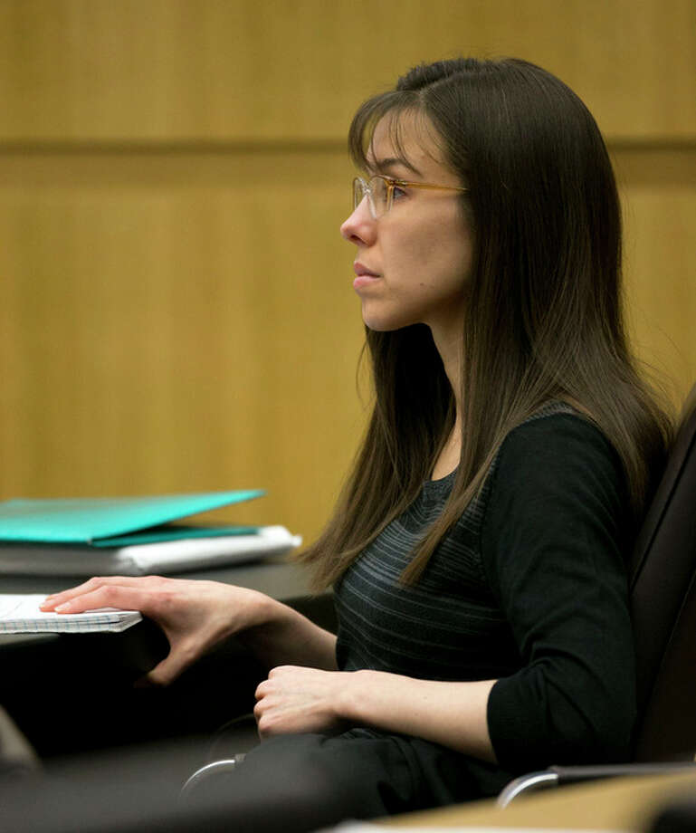Defendant Jodi Arias listens during redirect of Alyce LaViolette, a domestic violence expert, during Arias's trial at Maricopa County Superior Court in Phoenix on Thursday, April 11, 2013. Arias is on trial for the killing of her boyfriend, Travis Alexander, in 2008. Arias faces a possible death sentence if convicted of first-degree murder. (AP Photo/The Arizona Republic, David Wallace, Pool) / Pool, The Arizona Republic