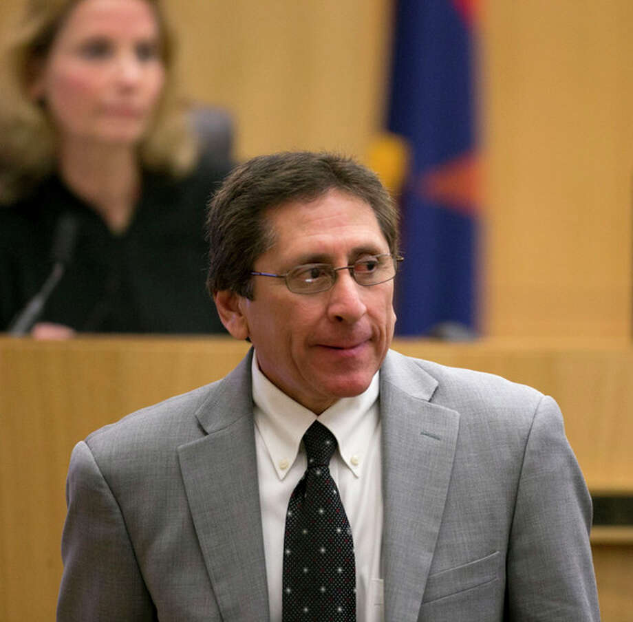 Prosecutor Juan Martinez looks on during redirect of Alyce LaViolette, a domestic violence expert during the Jodi Arias trial at Maricopa County Superior Court in Phoenix on Thursday, April 11, 2013. Arias is on trial for the killing of her boyfriend, Travis Alexander, in 2008. Arias faces a possible death sentence if convicted of first-degree murder. (AP Photo/The Arizona Republic, David Wallace, Pool) / Pool, The Arizona Republic
