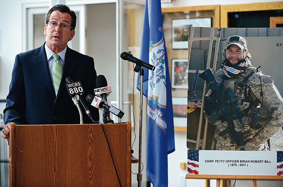 CT Governor Dannel Malloy speaks during a press conference to remember the one year death of Chief Petty Officer Brian Bill who was killed Afghanistan. Hour photo / Erik Trautmann / (C)2012, The Hour Newspapers, all rights reserved