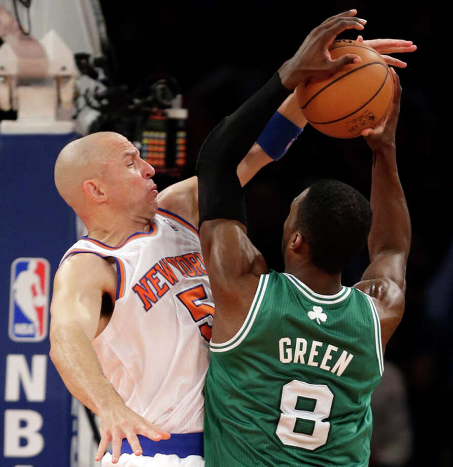New York Knicks guard Jason Kidd (5) defends against a shot by Boston Celtics forward Jeff Green (8) in the first half of Game 5 of their first-round NBA basketball playoff series at Madison Square Garden in New York, Wednesday, May 1, 2013. (AP Photo/Kathy Willens) / AP