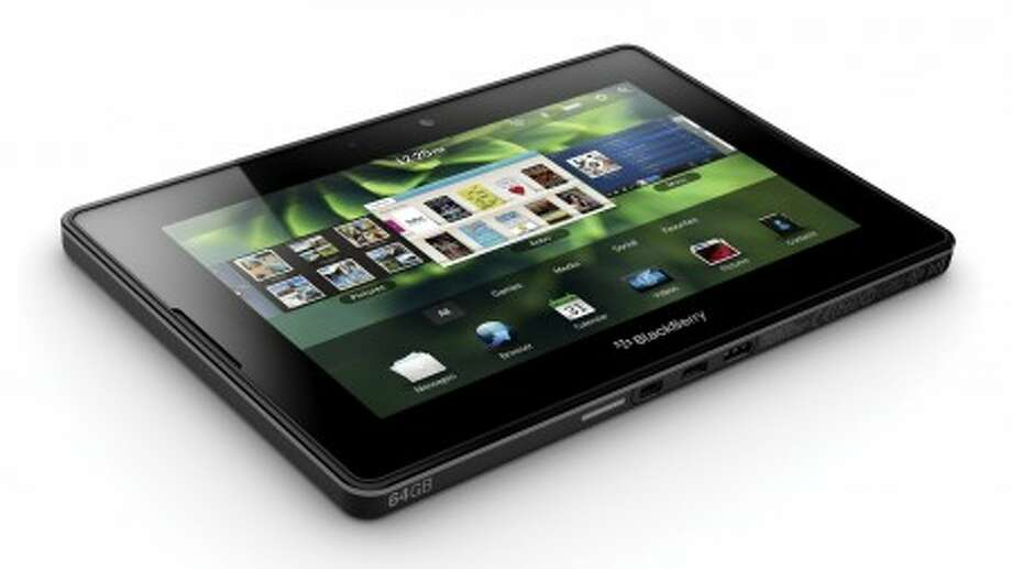 In this March 22, 2011 product image provided by Research In Motion Ltd., the upcoming BlackBerry PlayBook is shown. While Apple has been hawking the iPad for more than a year, BlackBerry maker Research In Motion is just getting started with the release of its tablet computer, the PlayBook. The device packs a vivid touch screen, front and rear cameras and support for Flash videos _ a feature lacking in Apple products. (AP Photo/The Canadian Press, Research In Motion Ltd.)
