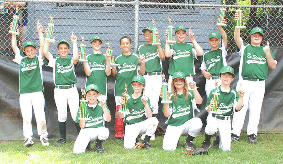 Contributed photo North Stamford Exchange beat Instant Replay this past Saturday, 10-4. North Stamford Exchange became the North Stamford Little League Tournament Champions. Pictured top from left Coach Neil Putterman, Grant Purpura, Andy Putterman, Coach Kurt Semmel, Nate Salm, Mike Lisinicchia, Russell Lofters, Hunter Semmel, Nick Gage, Chris Janocha, Coach Gary Purpura; Bottom from left, Noah Skaug, Max Allen, Maya Klein, Aidan Feliciano and Coach Dave Skaug.