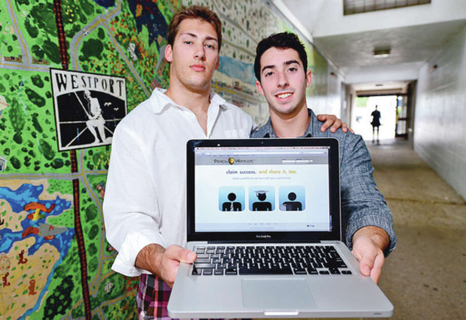 Hour photo / Erik TrautmannGreg Lewis and Gabe Schindler, 2011 Staples High graduates, started a company called Pencil Warriors to get parents in touch with academic tutors as well as athletic coaches for their children. / (C)2012, The Hour Newspapers, all rights reserved