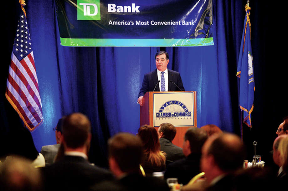 Mayor Michael Pavia of Stamford gives his state of the city address during a luncheon at the Marriot sponsored by TD Bank and the Stamford Chamber of Commerce. Hour photo / Erik Trautmann / (C)2013, The Hour Newspapers, all rights reserved