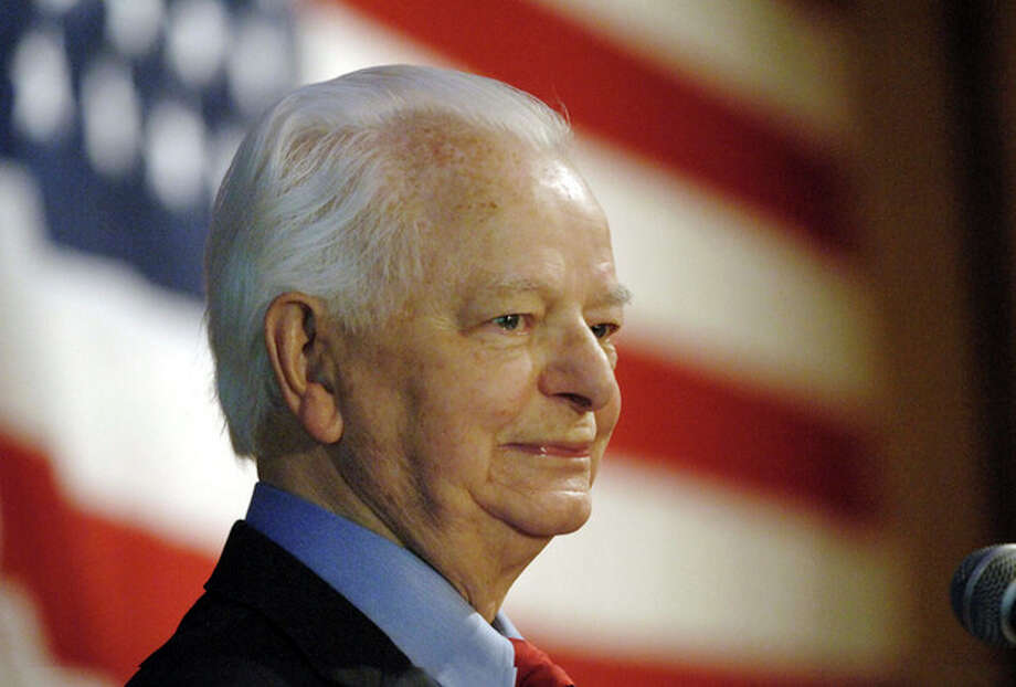 FILE - This Tuesday Nov. 7, 2006 file photo shows the late U.S. Sen. Robert C. Byrd, D-W.Va., as he speaks upon winning his ninth term, in Charleston, W.Va. Byrd created a stir in the mid-1960s within the nation's intelligence community when he obtained secret FBI reports leaked by the CIA. (AP Photo/Jeff Gentner, File) / AP