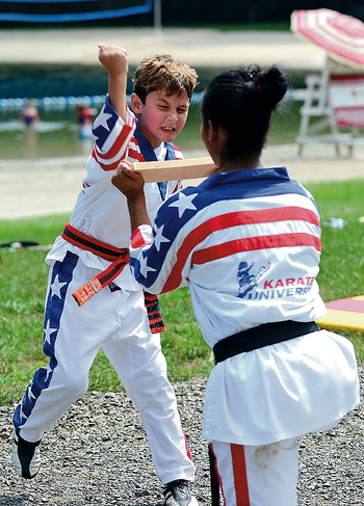 Gavin Fusco participates during the Kicks for Kids is a fundraiser by Karate Universe to help fight diabetes Saturday at Merwin Meadows in Wilton. Hour photo / Erik Trautmann