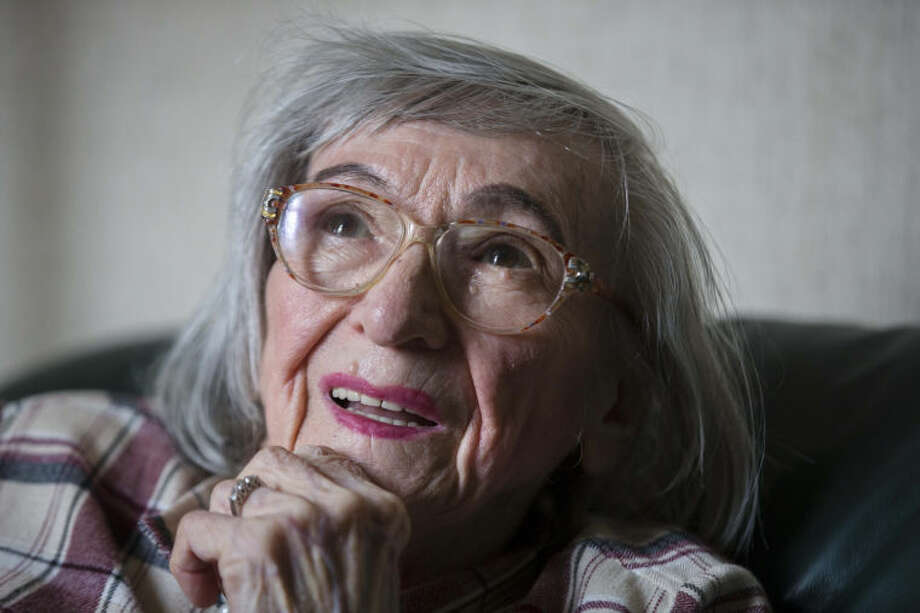 """One of the food testers of Adolf Hitler, Margot Woelk speaks during an interview with The Associated Press in Berlin, Thursday, April 25, 2013. Margot Woelk was one of 15 young women who sampled Hitler's food to make sure it wasnÕt poisoned before it was served to the Nazi leader in his """"Wolf's Lair,"""" the heavily guarded command center in what is now Poland, where he spent much of his time in the final years of World War II. Margot Woelk kept her secret hidden from the world, even from her husband then, a few months after her 95th birthday, she revealed the truth about her wartime role. (AP Photo/Markus Schreiber)"""