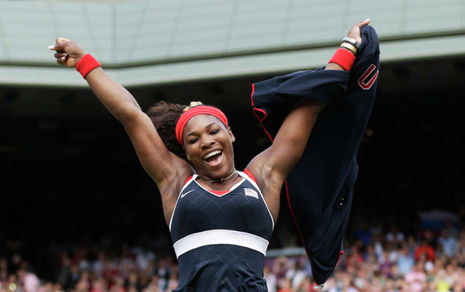 United States' Serena Williams celebrates after defeating Maria Sharapova of Russia to win the women's singles gold medal match at the All England Lawn Tennis Club at Wimbledon, in London, at the 2012 Summer Olympics, Saturday, Aug. 4, 2012. (AP Photo/Victor R. Caivano) / AP
