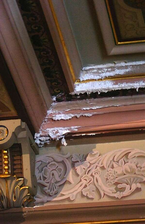 Damage to the ceiling done by the leaking roof at the Lockwood Mathews Mansion Museum. Hour photo / Erik Trautmann