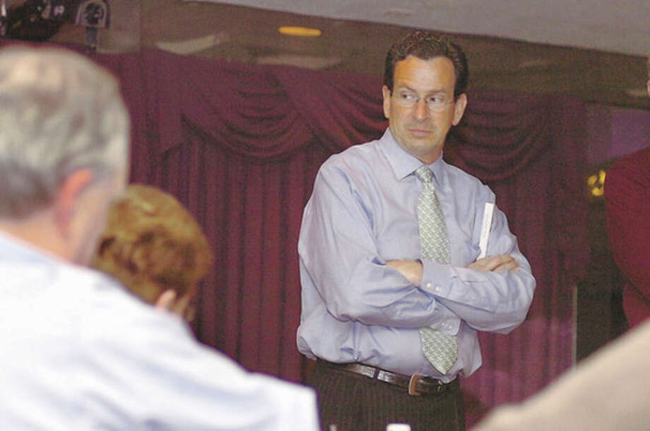Stamford Mayor, Dan Malloy speaks at the silver star diner on Wednesday to the Democracy for America meeting/hour photo matthew vinci