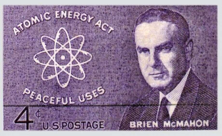 Photo/Alex von Kleydorff. The Brien McMahon 4 cent stamp, issued in Norwalk on July 29 1962