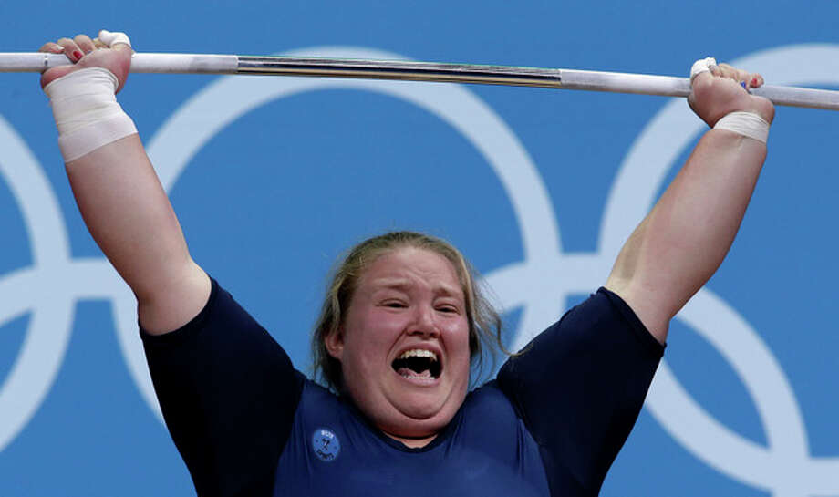 United States' Holley Mangold competes during the women's +75-kg, weightlifting competition at the 2012 Summer Olympics, Sunday, Aug. 5, 2012, in London. (AP Photo/Hassan Ammar) / AP
