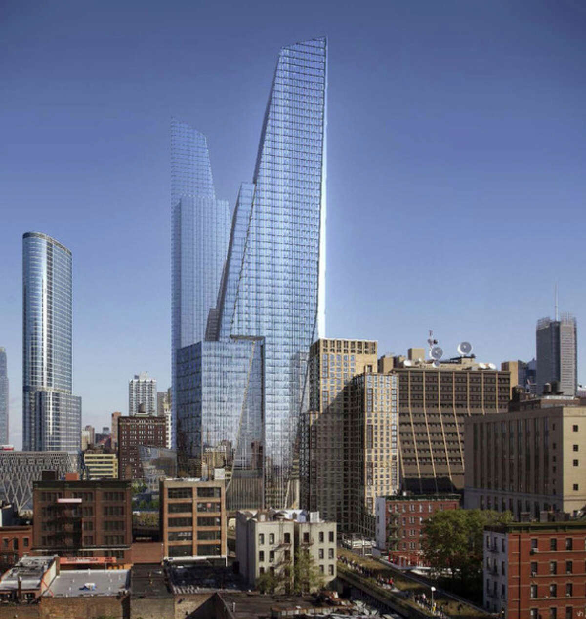 AP Photo/Visualhouse via Related Companies This artist's rendering provided by Visualhouse, via Related Companies, shows the planned Hudson Yards urban village, center, that will start rising soon on the acres of land overlooking the Hudson River.