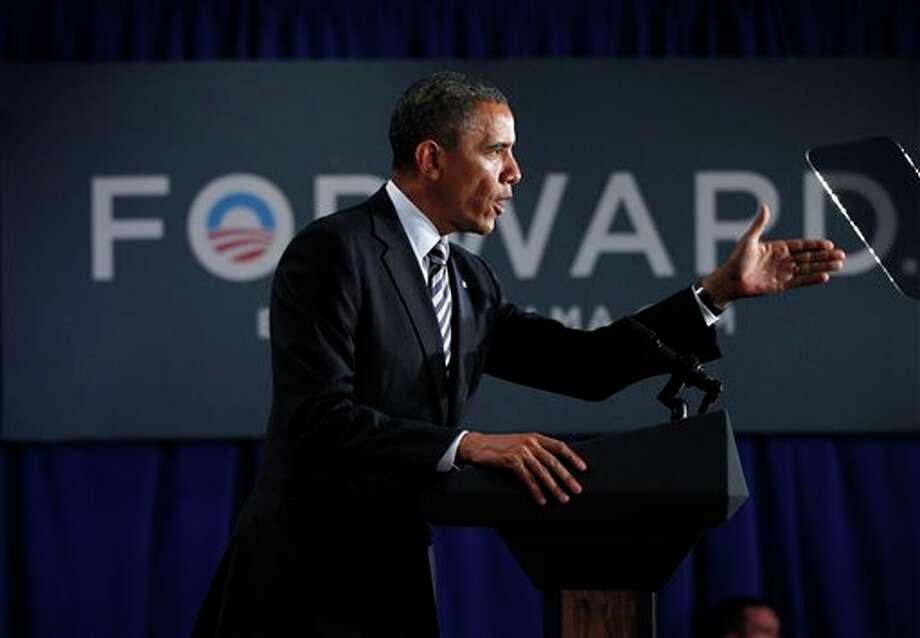 President Barack Obama speaks at a campaign fundraiser in Stamford, Conn., Monday, Aug., 6, 2012. (AP Photo/Pablo Martinez Monsivais) / AP