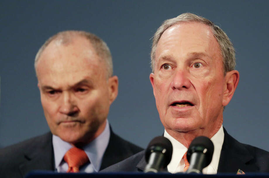 New York City Police Commissioner Raymond Kelly, left, and Mayor Michael Bloomberg hold a news conference, Thursday, April, 25, 2013 in New York. The two say the Boston Marathon bombing suspects intended to blow up their remaining explosives in Times Square. They said Dzhokhar Tsarnaev told Boston investigators from his hospital bed that he and his brother had discussed going to New York to detonate their remaining explosives. (AP Photo/Mark Lennihan) / AP