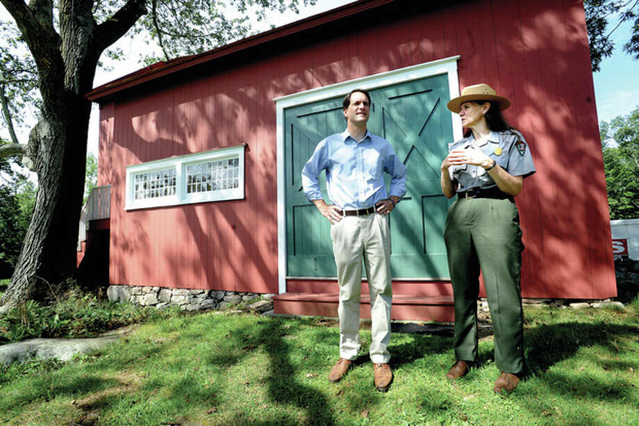 Congressman Jim Himes gets a tour of Weir Farm with superintendent Linda Cook Tuesday as part of his 17 towns in 17 days campaign. photo/Matthew Vinci