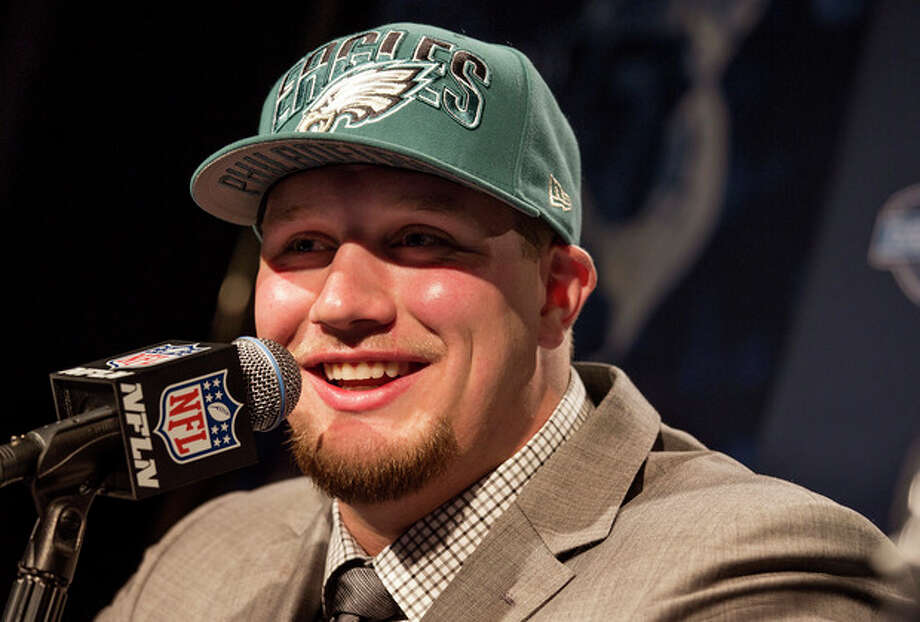 Lane Johnson, from Oklahoma, speaks during a news conference after being selected fourth overall by the Philadelphia Eagles during the first round of the NFL football draft, Thursday, April 25, 2013, at Radio City Music Hall in New York. (AP Photo/Craig Ruttle) / FR61802 AP